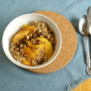 Bowl of Oatmeal with Peach Slices