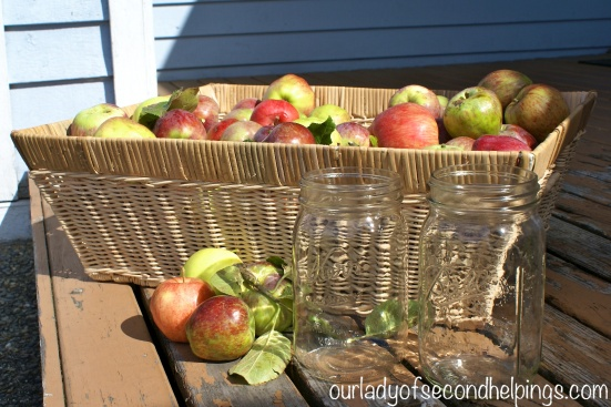 Basket of Apples with Quart Jars