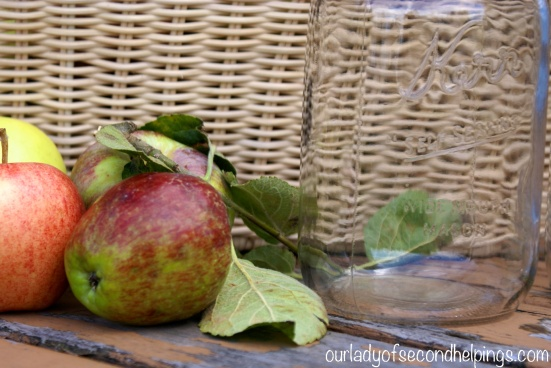 Apples with Basket and Mason Jar