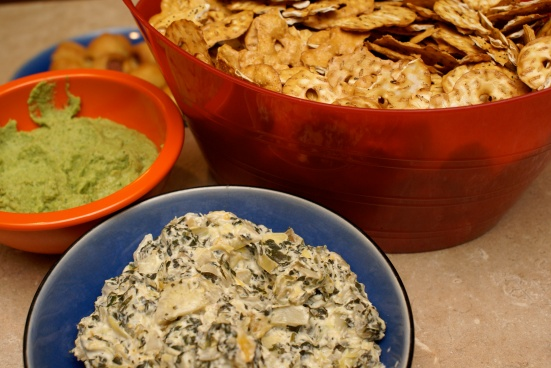 Not your average chips and dip.  Pretzel Crisps with low calorie creamy dips