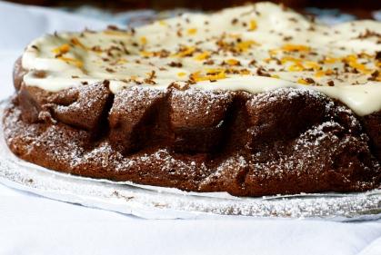 Chocolate Cake with Yogurt Frosting and Orange Zest