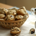 blueberry muffins in a basket