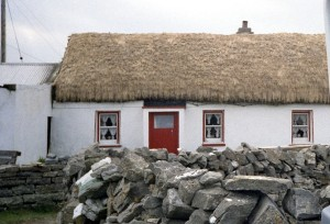 White cottage with red door and thatched roof