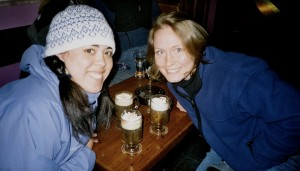 Two girls posed with Irish Coffees