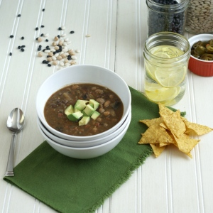 Bowl of Bean Stew with garnish