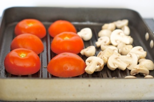 Tomatoes and Mushrooms on a Grill Pan