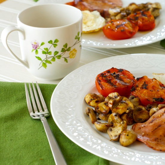 Grilled Tomatoes, Mushrooms, Canadian Bacon and Egg