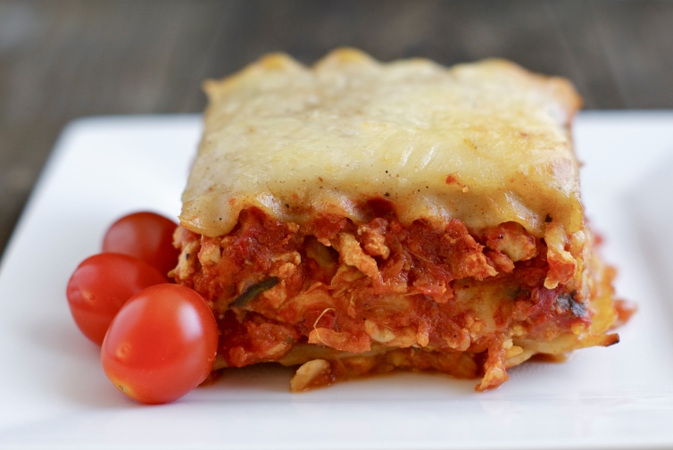 single serving of lasagna bolognese