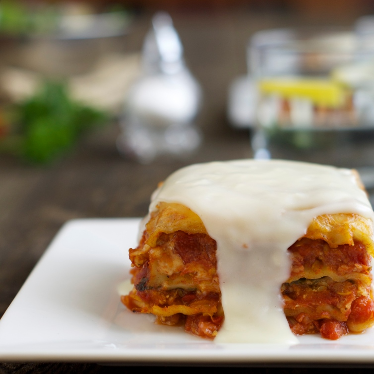 single serving of lasagna with bechamel sauce