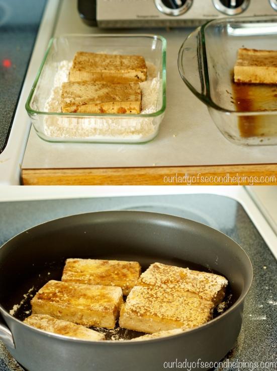 flour dredging and pan toasting tofu