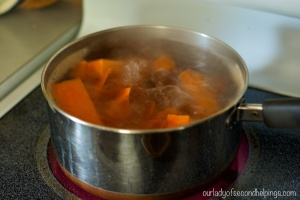 boiling sweet potatoes