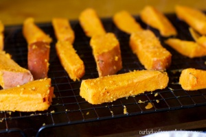 thick cut sweet potato fries on a rack