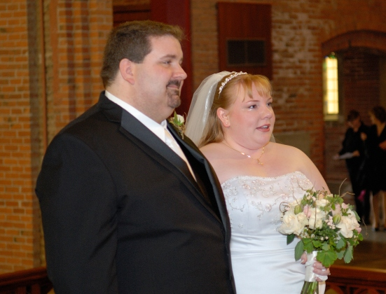 Obese couple on their wedding day