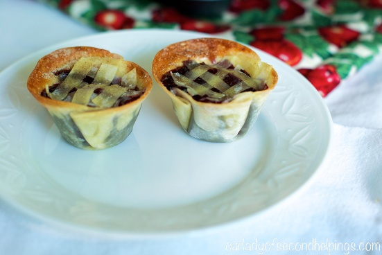 Two wonton crust mini pies