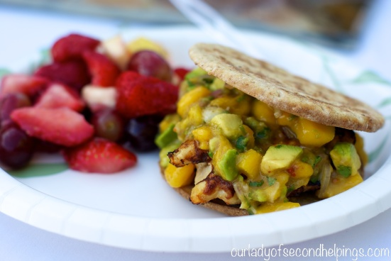 Chicken Burger with Mango Salsa