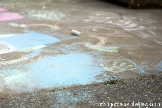 Chalk drawings with handprint