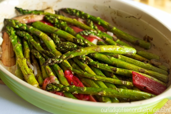 Oval Dish with Asparagus and Rhubarb