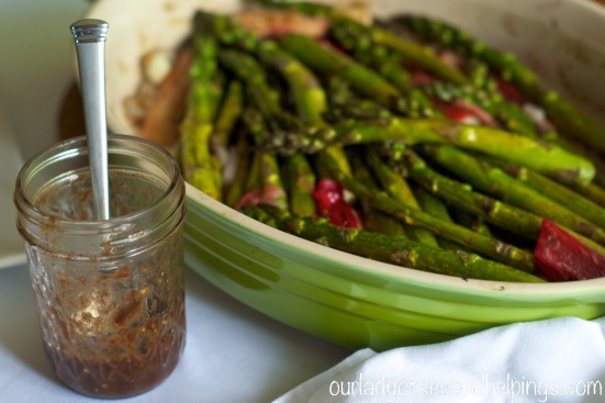 Jar of Vinaigrette and Roasted Asparagus