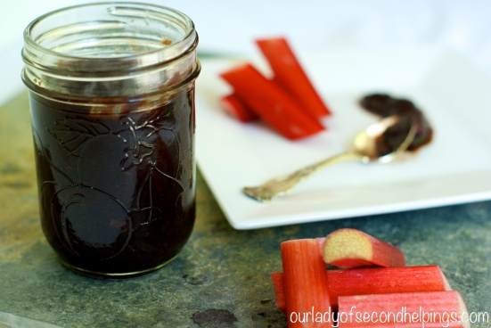 Jar with Balsamic Reduction and Rhubarb