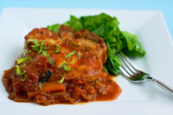 Chops slow cooked with wine and tomato