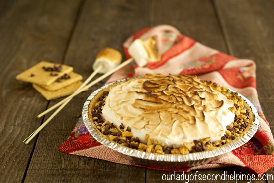 S'more Pie with toasted marshmallows and graham crackers