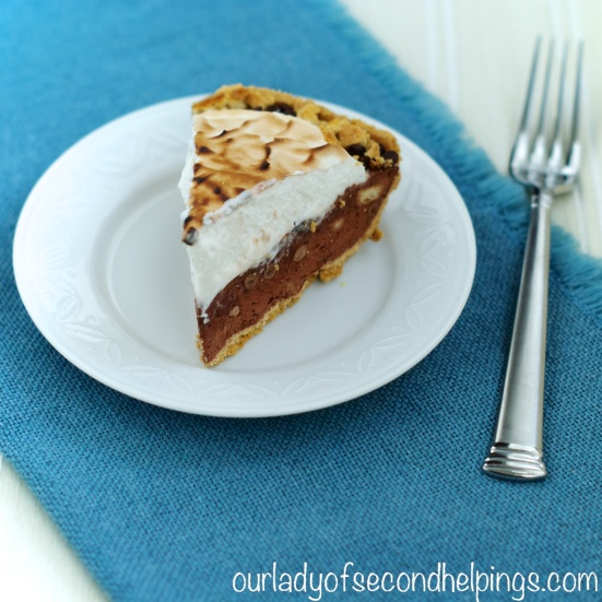 Slice of Chocolate Pudding S'more Pie