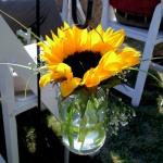 Sunflower in Hanging Mason Jar Vase