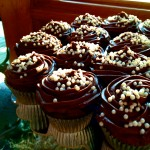 Chocolate Frosted Cupcakes with White Pearls