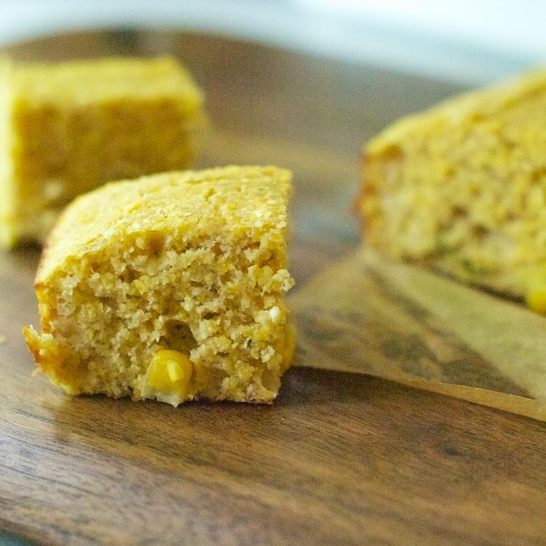 Pieces of savory cornbread
