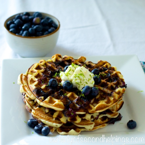 Breakfast plate with waffles and blueberries