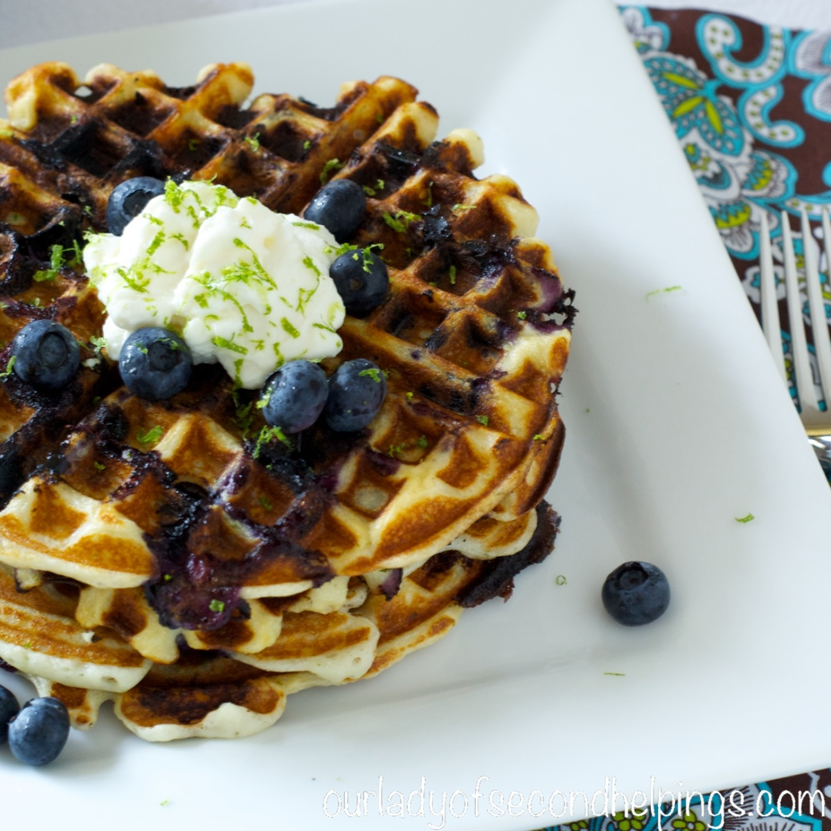 Back to School Breakfast - Blueberry Lime Waffles