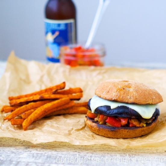 Mushroom Burger with Fire Roasted Chili Relish