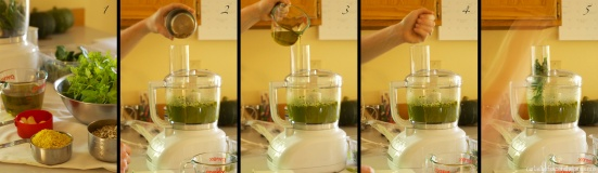 Step by step images for making pesto