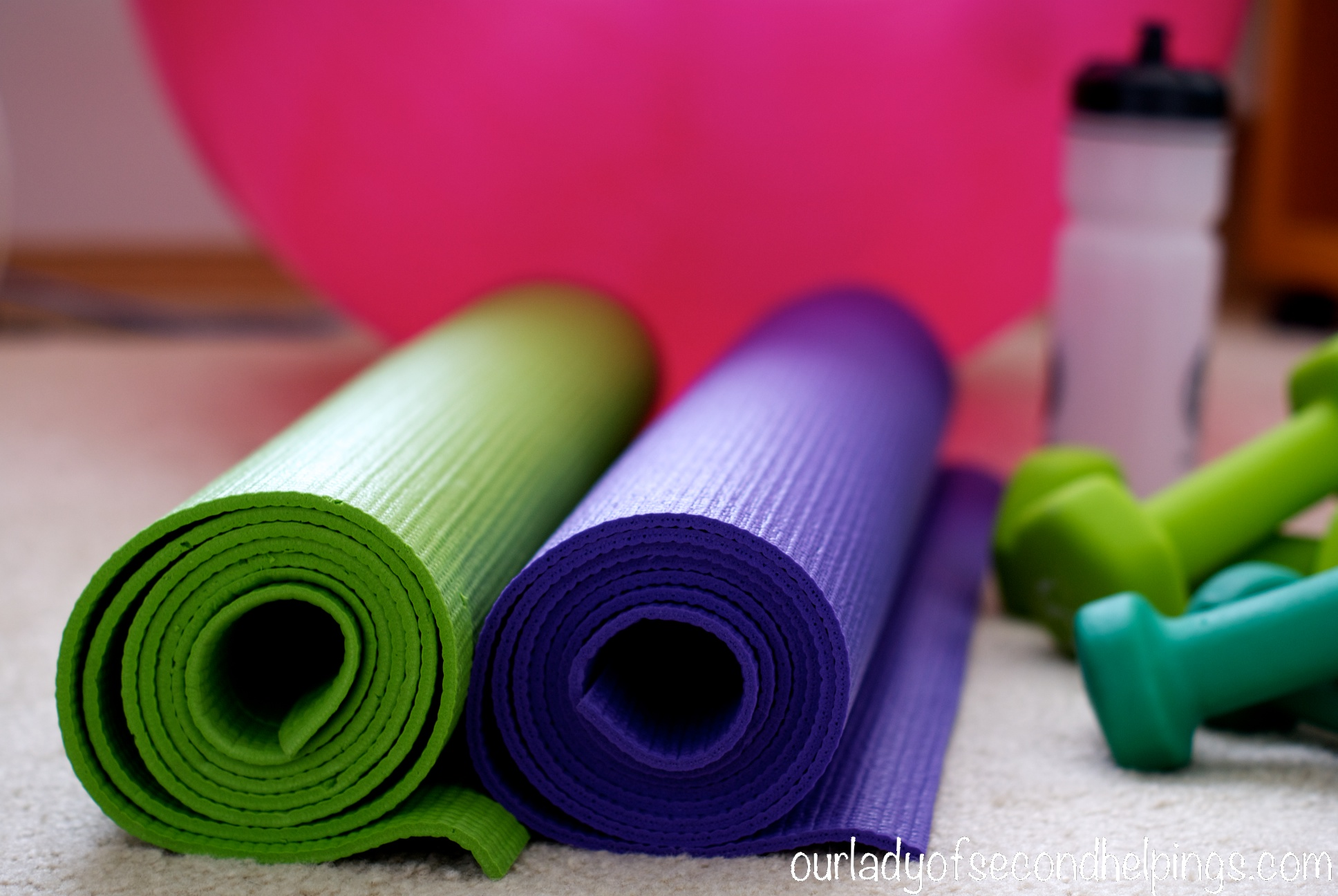 Yoga Mats, Hand Weights and Pilates Ball