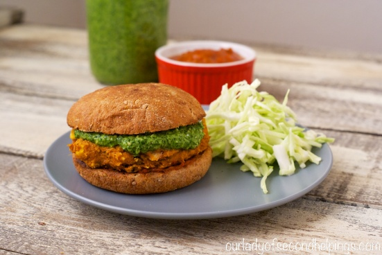 Sweet Potato Burger with Cabbage Slaw