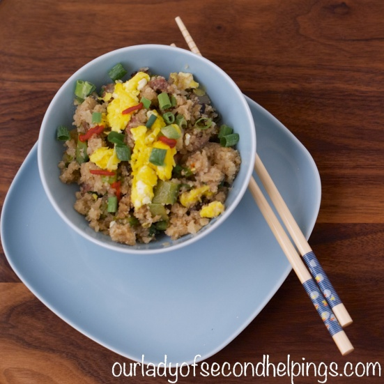 "Dish of fried rice made with cauliflower ""rice"""