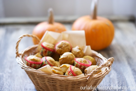Basket of mini muffins and pumpkins