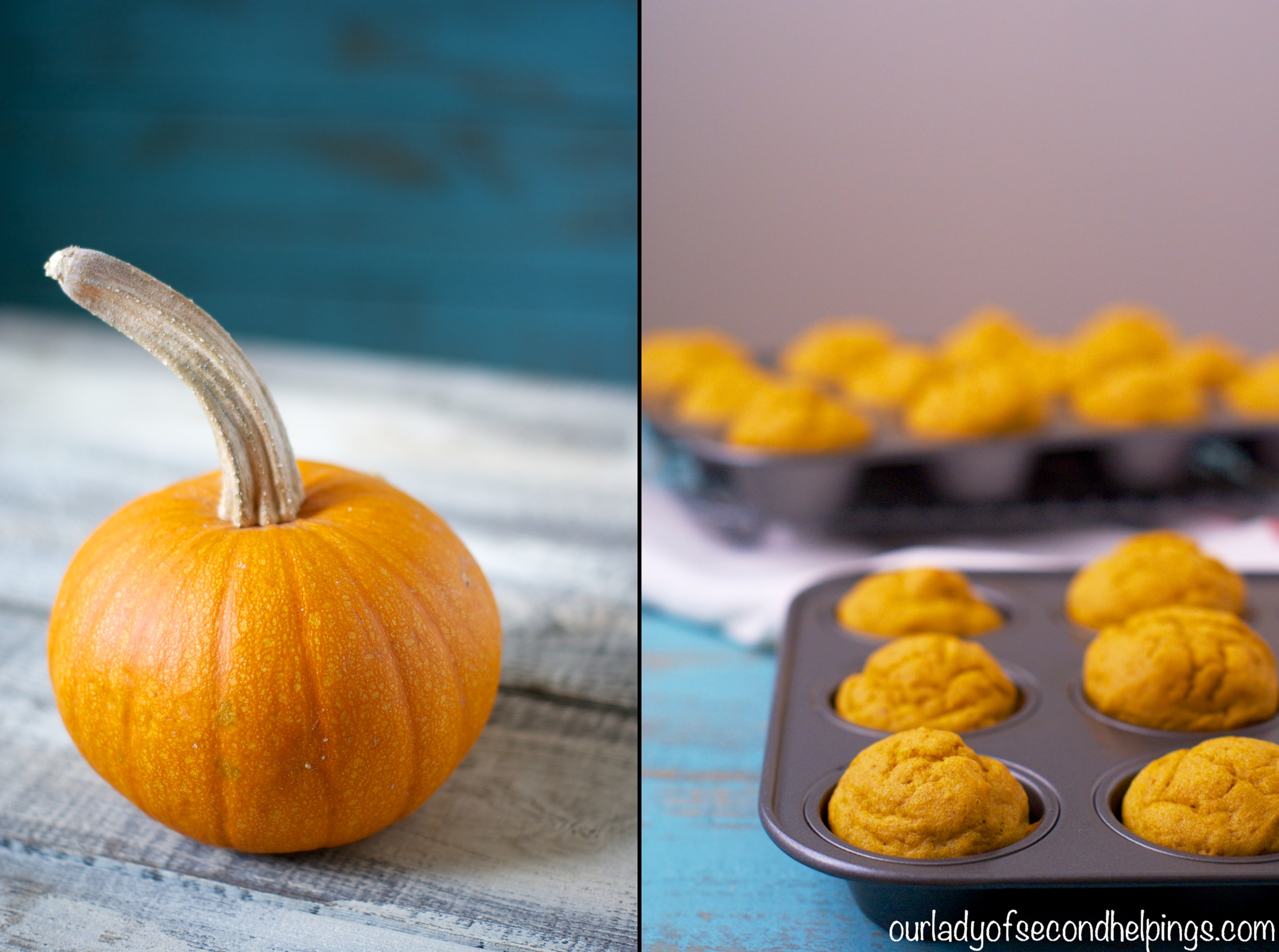 Pumpkin and Mini Muffins in a tin