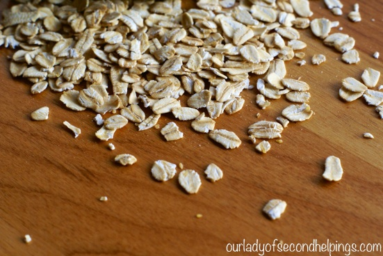 Rolled Oats on a cutting board