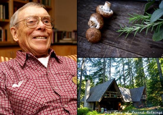 Mushrooms, cabin, older gentleman