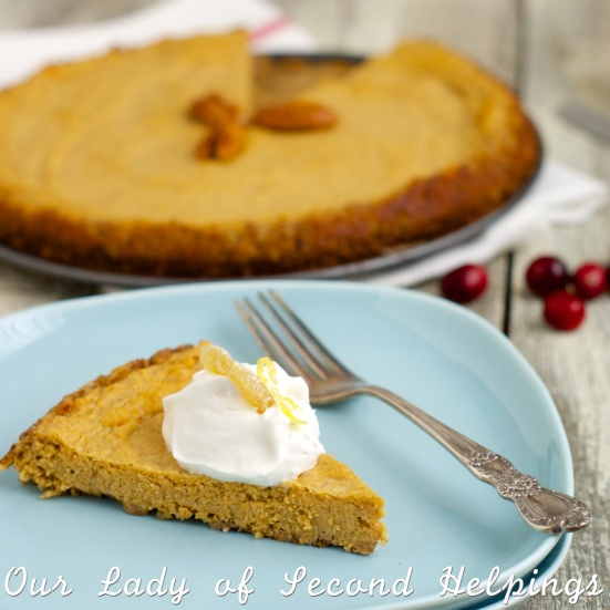 slice of crustless pumpkin pie - gluten free, low fat