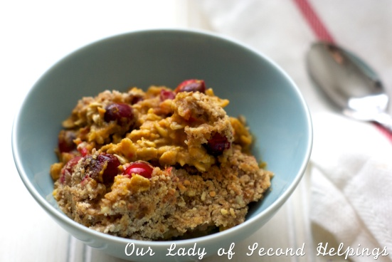Pumpkin Oatmeal with Cranberries in a blue bowl