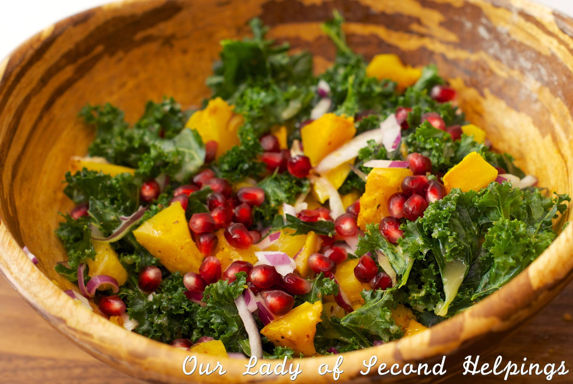 Salad with autumn vegetables and fruit