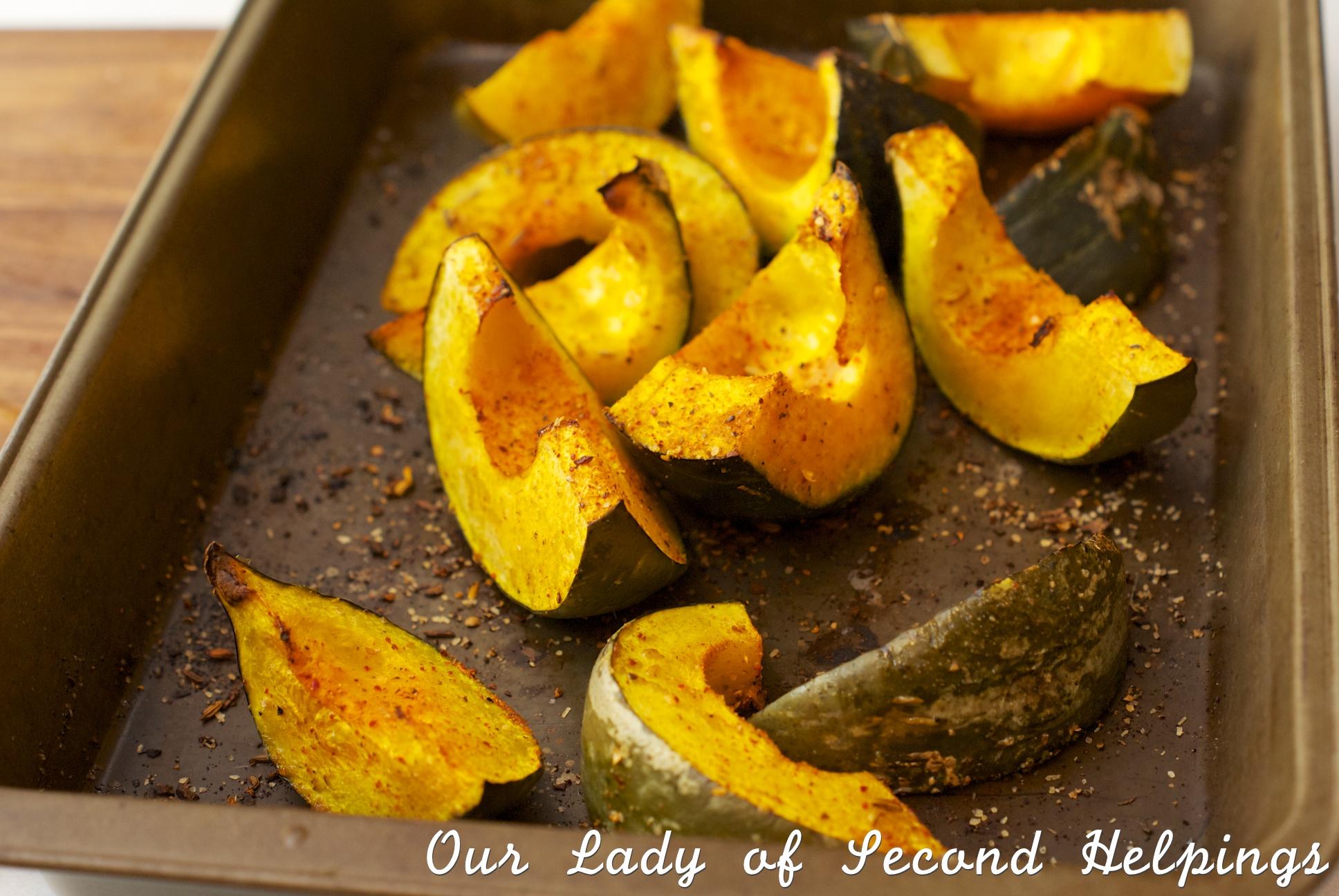 Wedges of roasted squash