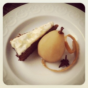 Gingerbread Cake and Tea Poached Pear