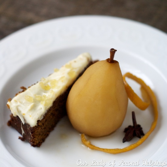 Gingerbread and Tea Poached Pears