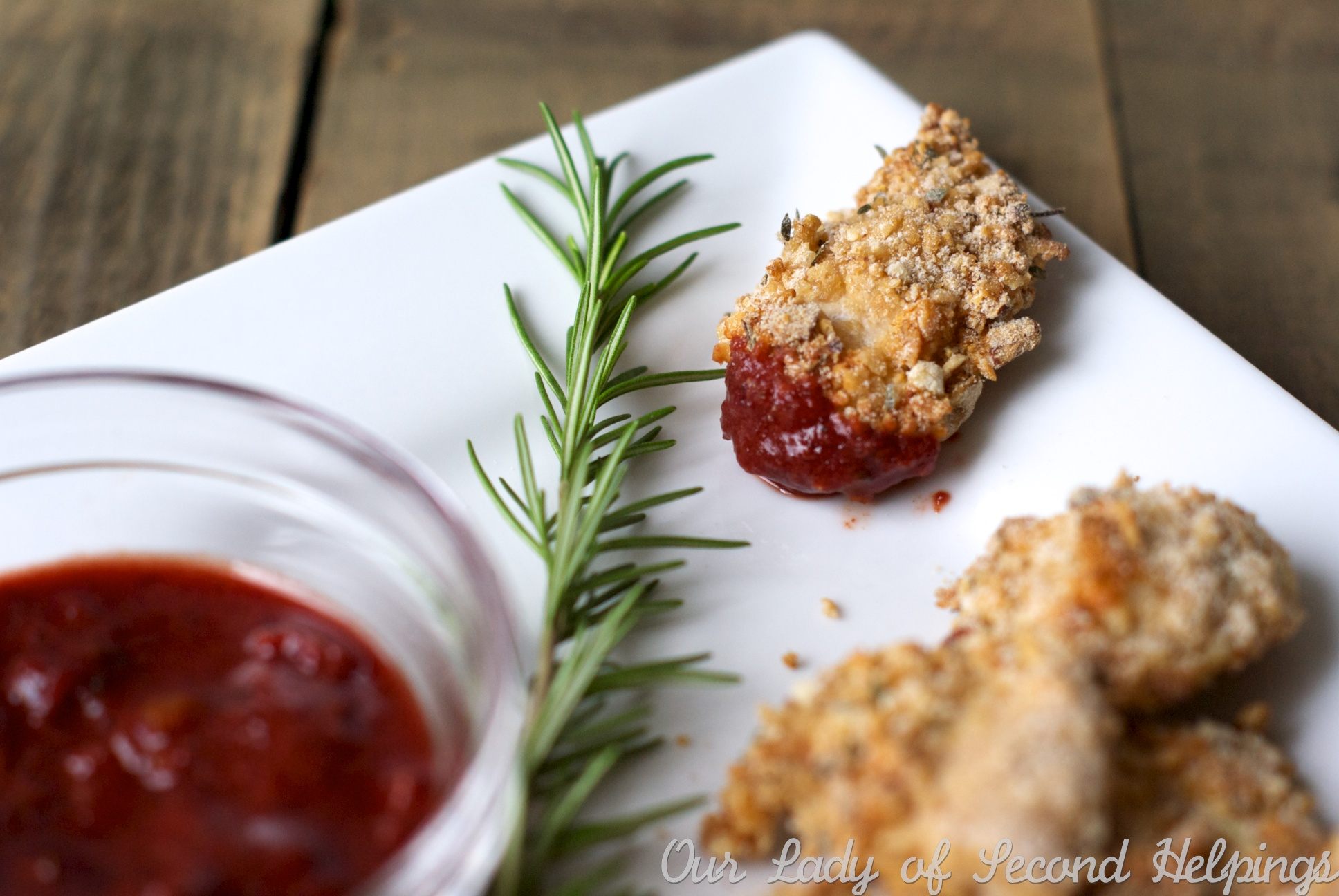 Perfectly Crisp Herb Chicken Nuggets with Cranberry-Molasses BBQ Sauce