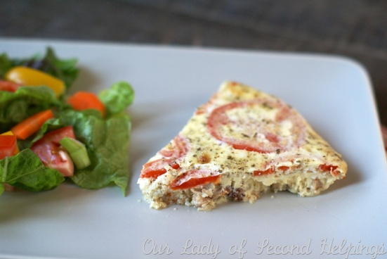 Sausage, Feta, & Tomato Crustless Quiche | Our Lady of Second Helpings