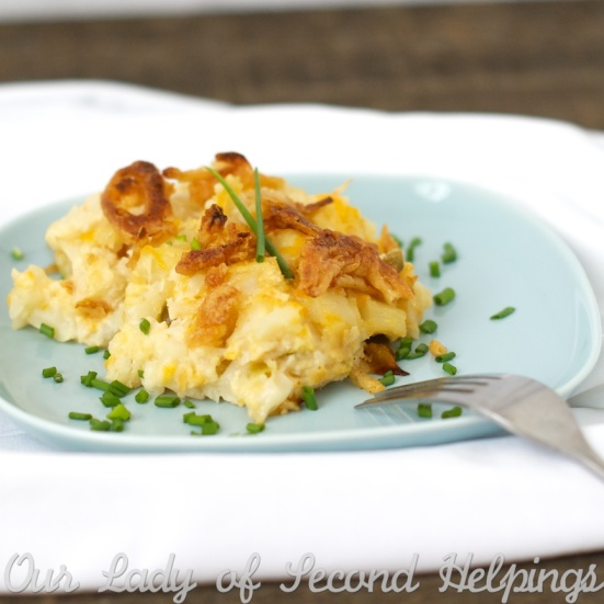 "Cheesy ""Yummy"" Potato Casserole - Grandma's Recipe Lightened UP! 