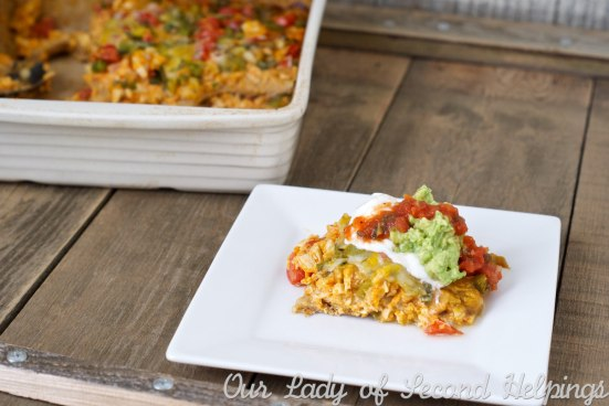 Healthy Chicken & Sweet Potato Layered Enchiladas | Our Lady of Second Helpings